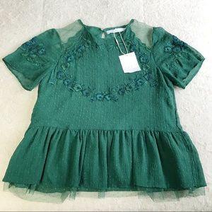 Zara Green Floral Lace Blouse